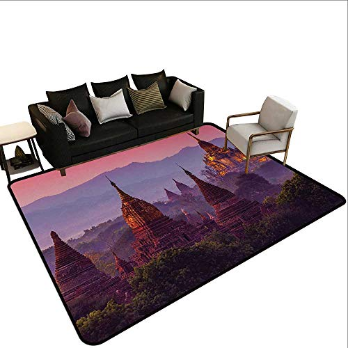 - Kitchen Rugs Asian,Ancient Temple Bagan After Sunset Myanmar Asian Old Architecture Landmarks,Coral Plum Dark Green,for Hard Floors, Provides Protection and Cushion for Area Rugs and Floors 2'x 4'