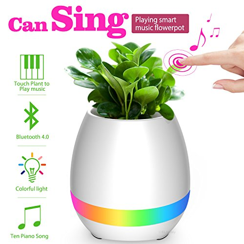 ELValley Bluetooth Speaker Smart Music Flower Pot Colorful LED Night Light Touch Plant Piano Music Playing Creative Wireless Speaker for Home Office Without Plants