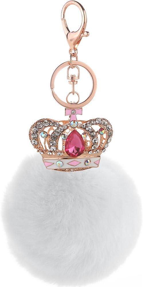 Colgante De Bolso De Bola De Lana con Corona De Gema para Mujer con Gema Rosa Roja De Diamantes De Imitación+Bola De Lana Blanca