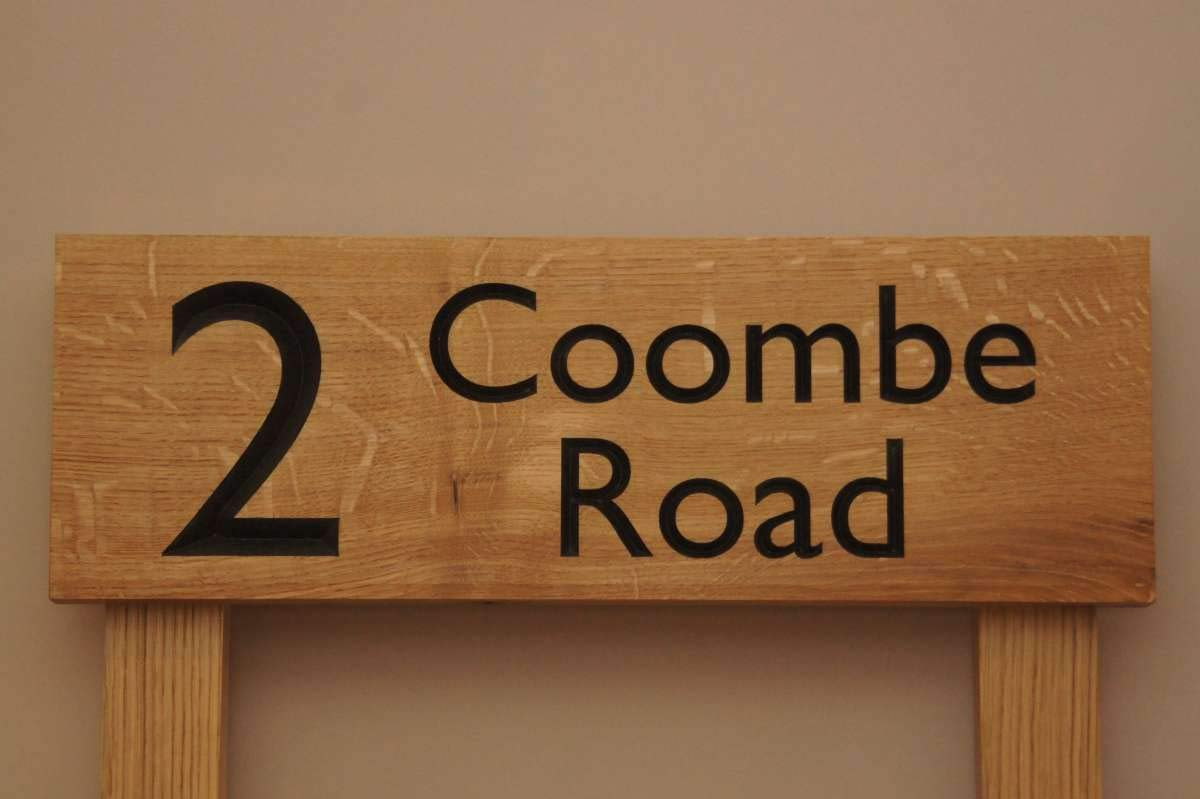 Custom Engraved Carved Wooden Name Plaque Personalised Oak House Sign 40cm x 15cm plus two 50cm tall posts