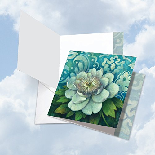 """Price comparison product image JQ4594AGWG Jumbo Get Well Square-Top Card: Blue Magnolia Featuring Image of a Beautifully Painted Enormous White Flower in Full Bloom with Envelope (Extra Large Size: 8.5"""" x 9.75"""")"""