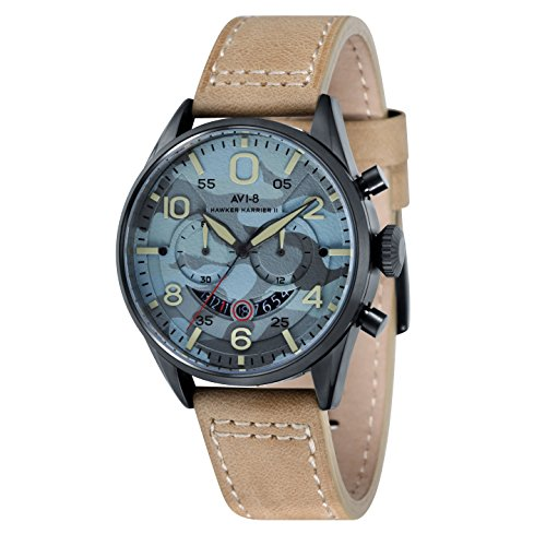 AVI-8 AV-4031-09 Mens Hawker Harrier II Beige Leather Strap Chronograph Watch