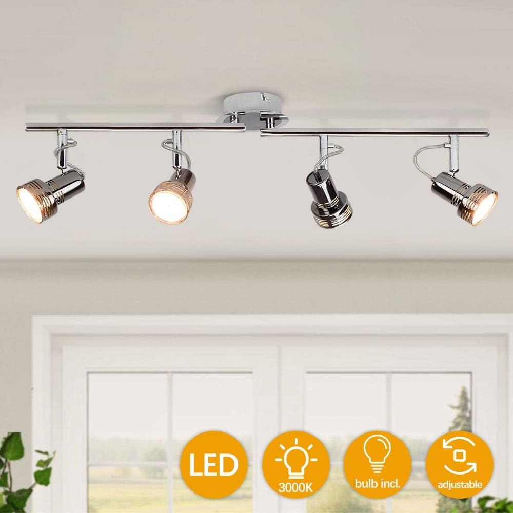Depuley Modern Track Lighting Kit, 4-Light Flush Mount Ceiling Track Lights for Kitchen, 3W Gu10 Bulbs Incl. Metal Black Directional Spots Light for Living Room/Hallway/Bedroom/Office/Cabinet