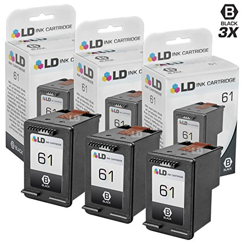 LD © Remanufactured Replacement Ink Cartridges for Hewlett Packard CH561WN (HP 61) Black (3 pack)