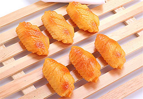 Skyseen 6 pcs Artificial Cooked Chicken Wings Food Model for Kitchen Home Party Christmas Halloween Decoration Market Food Sample Display]()