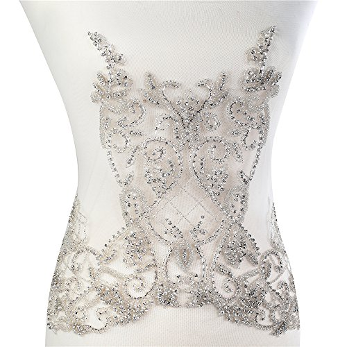 Wedding Dress Applique Patch, FAGNZHIDI Full Handmade Large Hearvy Bridal Supplies Crystal Sequin Rhinestone Beaded Bodice- Perfect for Sewing on Haute Couture, Prom Dress Bodice Overlays (DRA-005) ()