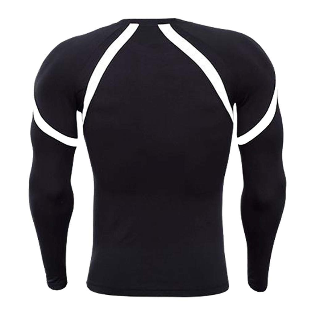 TIFENNY Mens Fitness Long Sleeves Rush Guard T-Shirt Bodybuilding Skin Tight-Drying Tops Fashion Color Block Shirt Tops