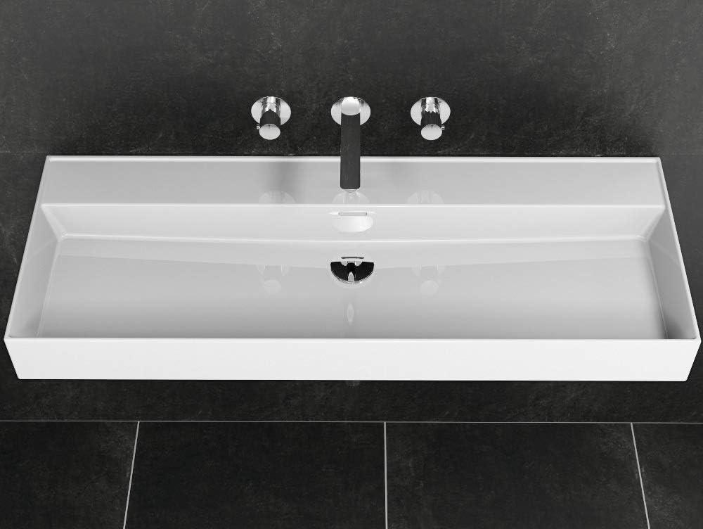 rectangular 1212 x 466 x 120 mm Aqua Bagno lavabo de cer/ámica Lavabo en moderno dise/ño Loft Air lavabo de pared blanco