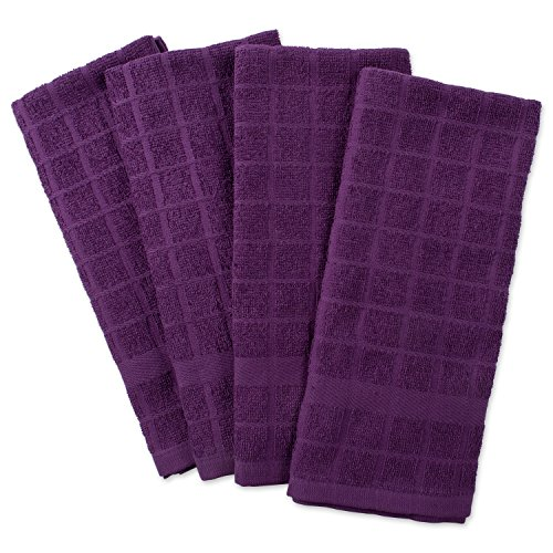 "DII Cotton Terry Windowpane Dish Towels, 16 x 26"" Set of 4, Machine Washable and Ultra Absorbent Kitchen Bar Towels-Solid Eggplant"