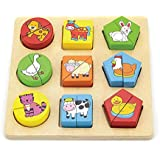 Viga Toys - 59585 - Geometry Shape Sorting Puzzle - Farm Animals
