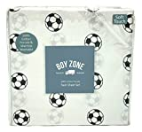 Boy Zone Soccer Balls Twin Size Cotton Sheet Set