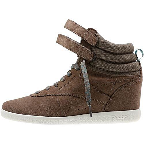 Reebok Womens Classics Freestyle Hi Int Nascosta Zeppa Fashion Sneaker Trek Grigio / Senza Tempo Teal / Bianco Crema
