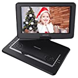 DBPOWER 14'' Portable DVD Player with Rechargeable Battery, Swivel Screen, Supports SD Card and USB, with 1.8M Car Charger and 1.8M Power Adaptor (Black)