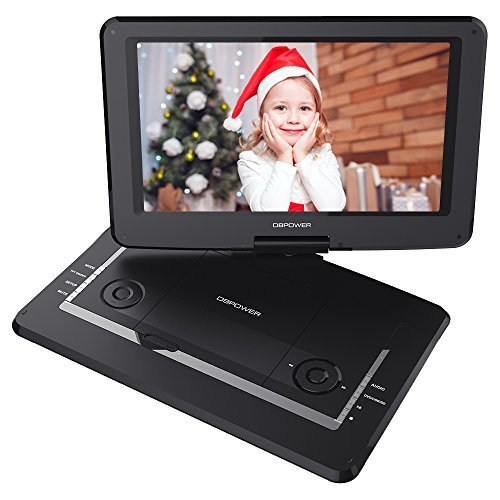 "DBPOWER 14"" Portable DVD Player with Rechargeable Battery, Swivel Screen, Supports SD Card and USB, with 1.8M Car Charger and 1.8M Power Adaptor (Black)"