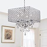 Cheap Chrome/ Crystal 4-light Square Chandelier