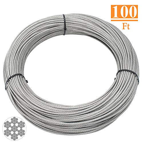 HELIFOUNER T316 Marin Grade 1/8 inch Stainless Steel Aircraft Wire Rope Cable for Railing, Decking, DIY Balustrade, 100 Feet (Stainless Steel Braided Cables)