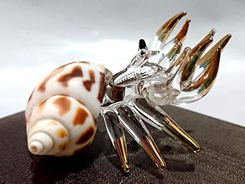 Sansukjai Sea Shell Seashell Hermit Crab Conch Miniature Figurines Beach Animals Hand Blown Glass Art Natural Collectible Gift Decorate, Clear W Gold