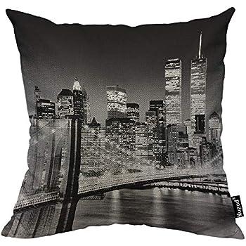 Mugod City Throw Pillow Case New York City Night Landscape Rise Building Bridge Black White Cotton Linen Cushion Cover for Men Women Sofa Armchair Bedroom Livingroom 18x18 Inch