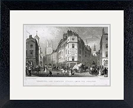 Print of 'Cornhill, London, 1830  Artist: S Lacey' in Black