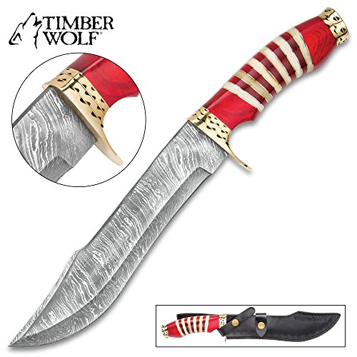 Timber Wolf Kilimanjaro Bowie Knife - Damascus Steel Blade, Buffalo Horn Handle, Brass Guard and Pommel - Length 14""