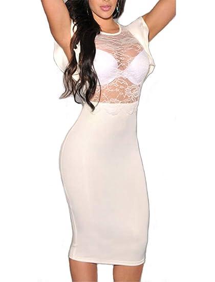 781b893325 Red Dot Boutique 6473 - Plus Size Sexy Sheer Mesh Crochet Lace Bodycon Club  Dress Black