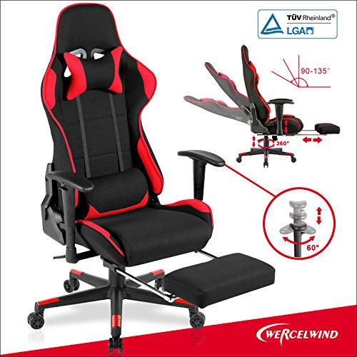 Mecor Executive Swivel Leather Gaming Chair Adjustable Height Ergonomic Office Computer Chair High-back Racing Style with Lumbar Support Headrest Footrest Red & (Leather Adjustable Recliner)