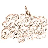 14K Rose Gold Italian Princess Pendant Necklace - 21 mm