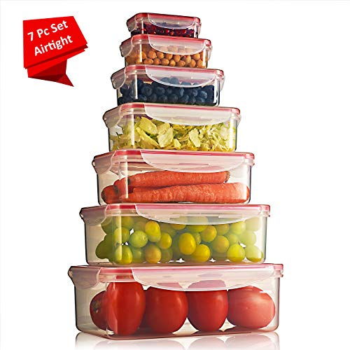 Sealco Food Storage Meal Prep Lunch Box Containers with Lids - Reusable Plastic Containers - BPA-Free, Stackable, Microwave, Dishwasher, Freezer Safe - Airtight - 7 Piece Set
