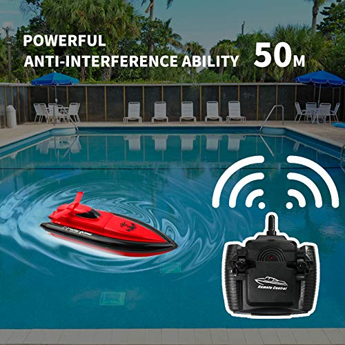 ERollDeep RC Boat Remote Control Boats for Kids,2.4GHz High Speed Remote Control Racing Boat for Pools Lakes Outdoor-Red(Only Works in Water)