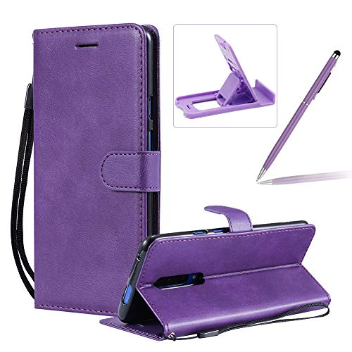 Strap Leather Case for OnePlus 7 Pro,Wallet Flip Cover for OnePlus 7 Pro,Herzzer Stylish Elegant Purple Solid Color Magnetic Folio Smart Stand Cover with Soft TPU