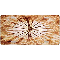 Nature License Plate by Lunarable, Close Shot of Nature Inspired Morphing Psychedelic Color Expansion Pattern Print, High Gloss Aluminum Novelty Plate, 5.88 L X 11.88 W Inches, Orange Brown
