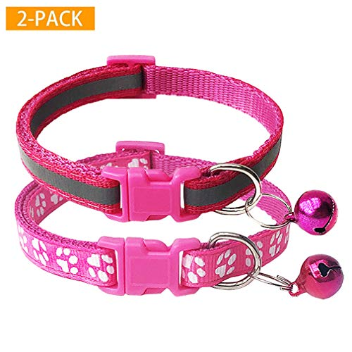 CHBORCHICEN 2-Pack Reflective & Footprint Small Pet Dog Cat Regular Collar with Bell Buckle Adjustable Polyester Cat Dog Collar or Seatbelts (X-Small, Rose)
