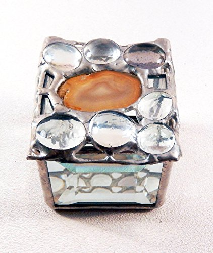 Camel colored Agate, beveled Glass Jewelry Box, Memento, Keepsake Keeper with Glass Jewels