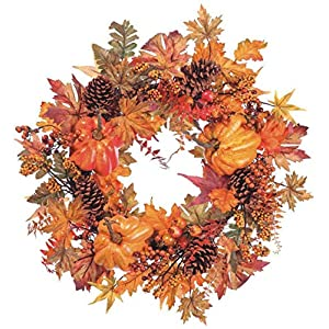 24 Inch Fall Wreath with Pumpkins, Pine Cones, Maple Leaves- Thanksgiving Wreath 51