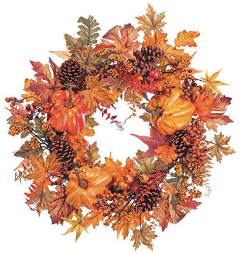 24 Inch Fall Wreath with Pumpkins, Pine Cones, Maple Leaves- Thanksgiving Wreath
