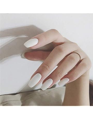 72e4d34de73 Milanco 24Pcs Matte Fake Nails Full Cover Medium Ballerina White False Nails  Coffin Art Tips for