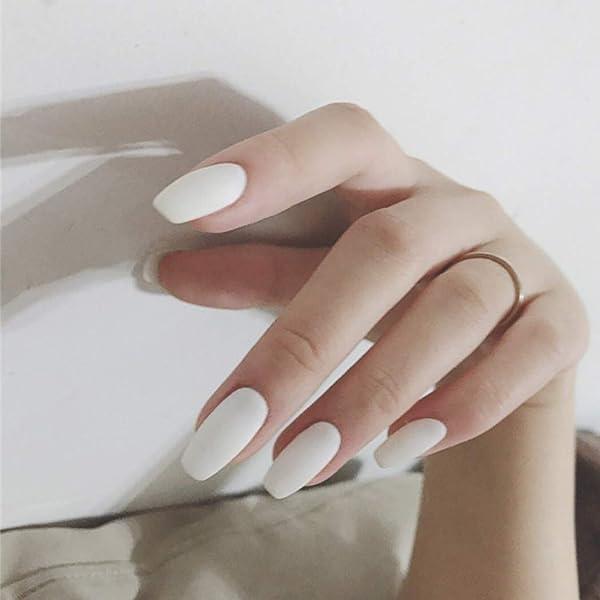 Edary Matte Fake Nails Full Cover Medium Ballerina White False Nails 24Pcs Coffin Art Tips for Women (Color: White)