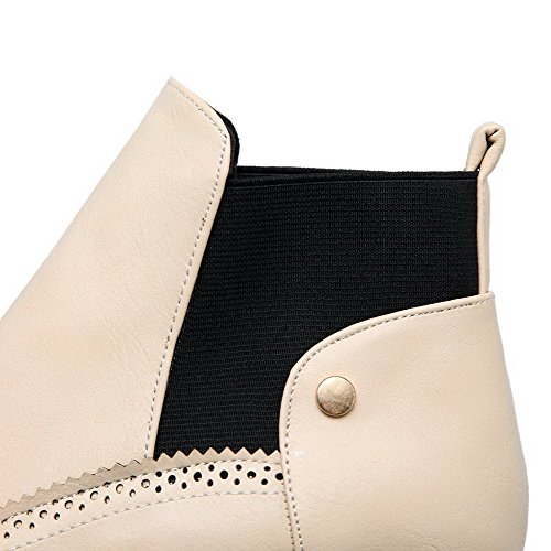 Kitten Solid Soft Beige Womens Heels high Material on Ankle Pull AllhqFashion Boots wna4UWpxA