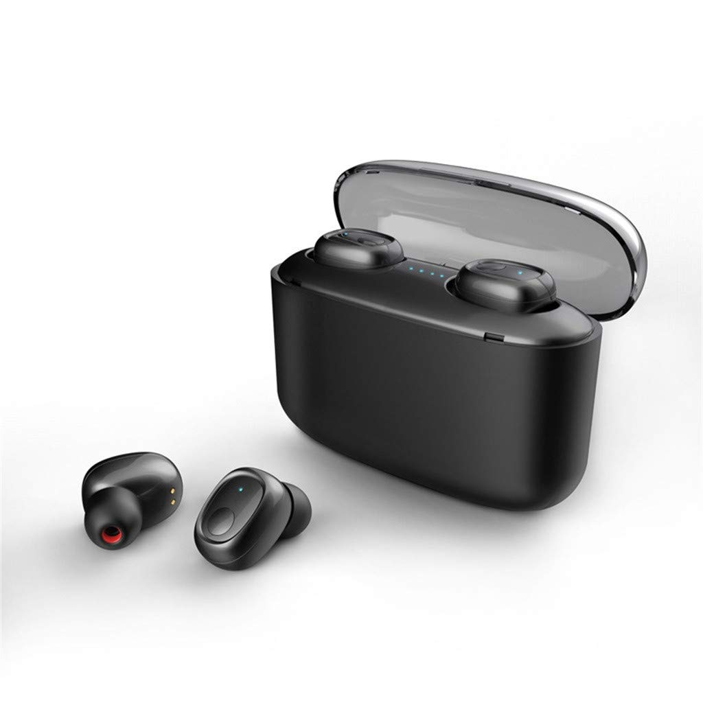Barcley True Wireless Earbuds TWS Stereo Bluetooth 5.0s with Qualcomm CSR APTX Chipset CVC8.0 Noise Cancelling in-Ear Earphone IPX54 Waterproof 80H Playtime Sports Earpiece with Charging Case (Black)
