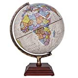 Waypoint Geographic Atlantic Illuminated 12'' Globe with Stand - Over 4, 000 Up-To-Date points of Interest - Wood 3-Step Style Stand & Politically Styled World Globe for Home, Office & Classroom