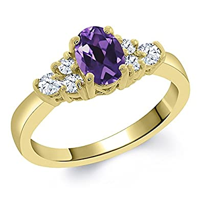 0.69 Ct Oval Purple Amethyst White Topaz 925 Yellow Gold Plated Silver Ring