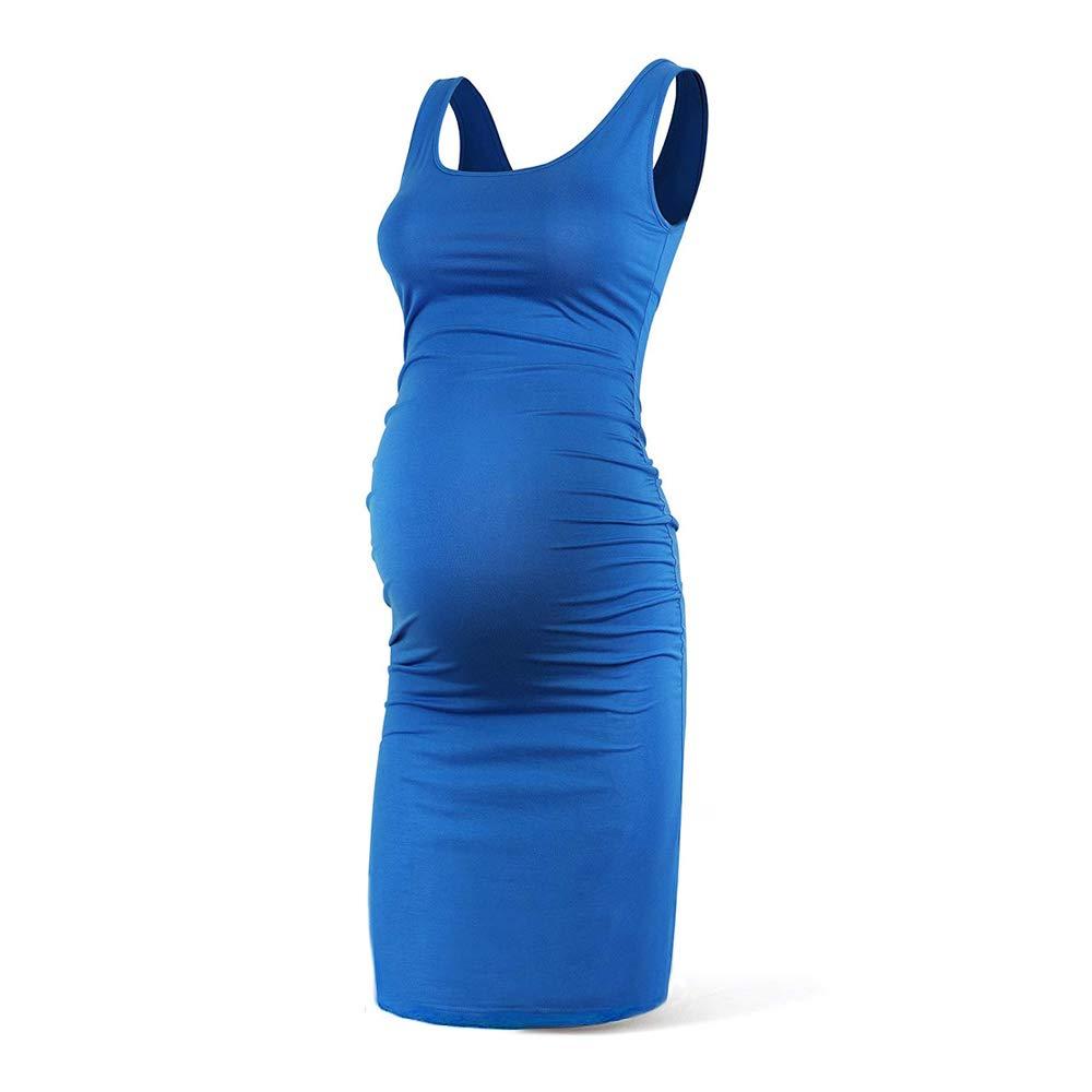 Rnxrbb Women Summer Sleeveless Maternity Dress Pregancy Tank Scoop Neck Mama Clothes Casual Bodycon Clothing,Blue-S