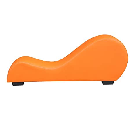 US Pride Furniture Faux Leather Stretch Chaise Relaxation and Yoga Chair, Orange