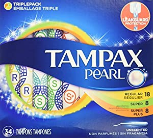 Tampax Pearl Plastic Tampons, Triple pack, Regular/super Plus Absorbency, Unscented, 34 Count