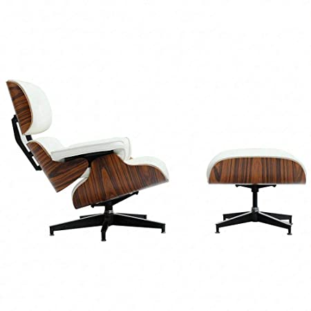 Modern Sources – Mid Century Recliner Lounge Chair with Ottoman Real Wood Genuine Italian Leather White Palisander