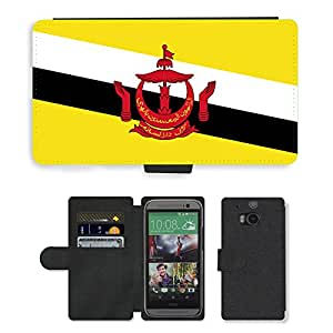 GoGoMobile Flip PU Leather Wallet Case with Credit Card Slots // V00001021 brunei National Country Flag // HTC One M8