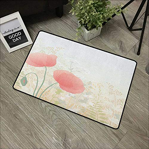 pad W16 x L24 INCH Pastel,Wild Poppy Blooms with Herbs Twigs Leaves Grass Growth Nature Rural Morning Scenery, Multicolor Our Bottom is Non-Slip and Will not let The Baby Slip,Door ()