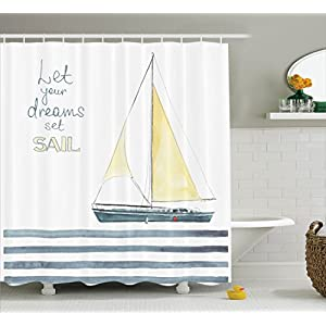 "Sailboat Yachting Decor Shower Curtain Set By Ambesonne, ""Let Your Dreams Set Sail"" Quote Stripes Yacht Interior Navigation Theme, Bathroom Accessories, 69W X 70L Inches, Petrol Glum Yellow White"