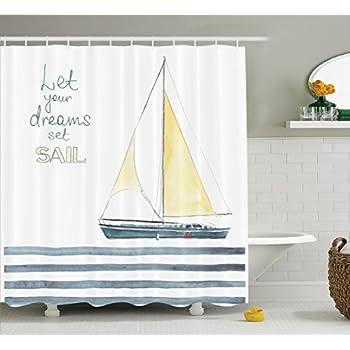 Ambesonne Sailboat Nautical Decor Shower Curtain Set Let Your Dreams Sail Quote Stripes Yacht