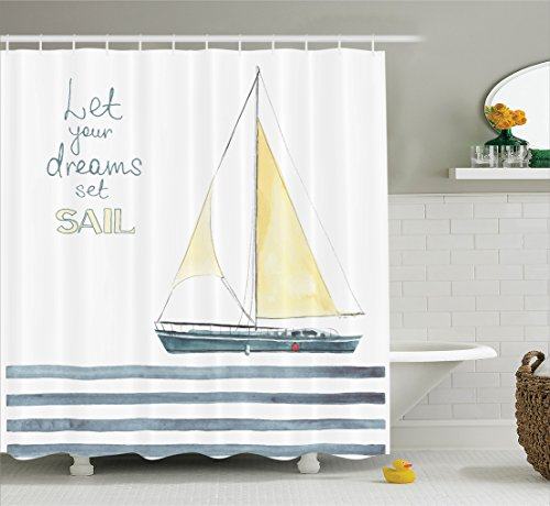 Ambesonne Sailboat Nautical Decor Shower Curtain Set, Let Your Dreams Set Sail Quote Stripes Yacht Interior Navigation Theme, Bathroom Accessories, 69W X 70L Inches, Petrol Blue Yellow -